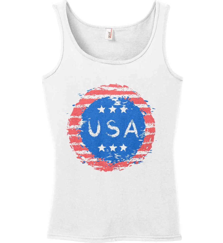 Grungy USA. Women's: Anvil Ladies' 100% Ringspun Cotton Tank Top.-2