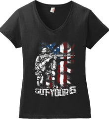 Got Your Six. Soldier Flag. Women's: Anvil Ladies' V-Neck T-Shirt.