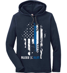 Bleed the Blue. Grungy Blue Line Flag. Anvil Long Sleeve T-Shirt Hoodie.