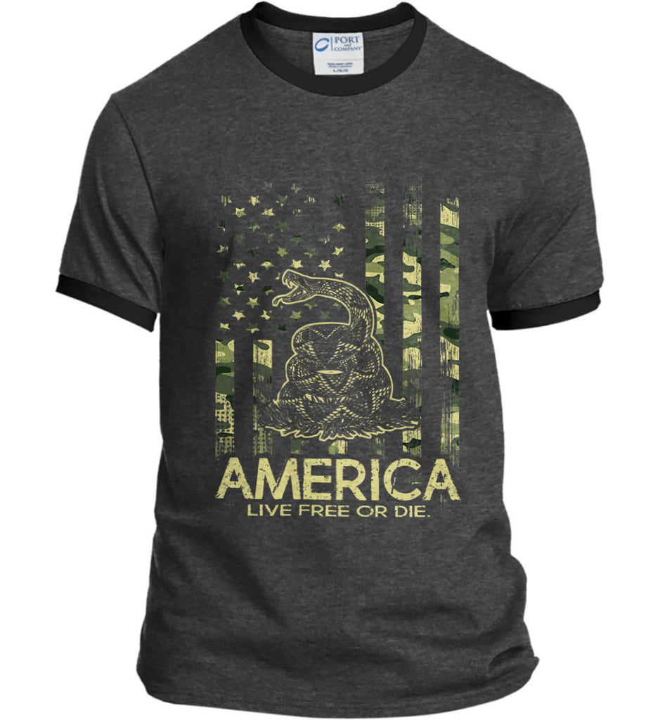 America. Live Free or Die. Don't Tread on Me. Camo. Port and Company Ringer Tee.-1