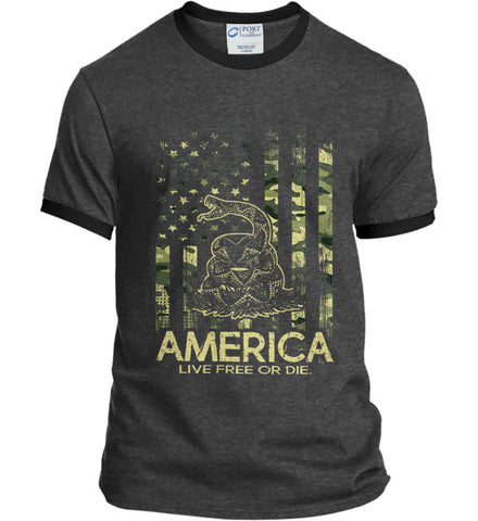 America. Live Free or Die. Don't Tread on Me. Camo. Port and Company Ringer Tee.