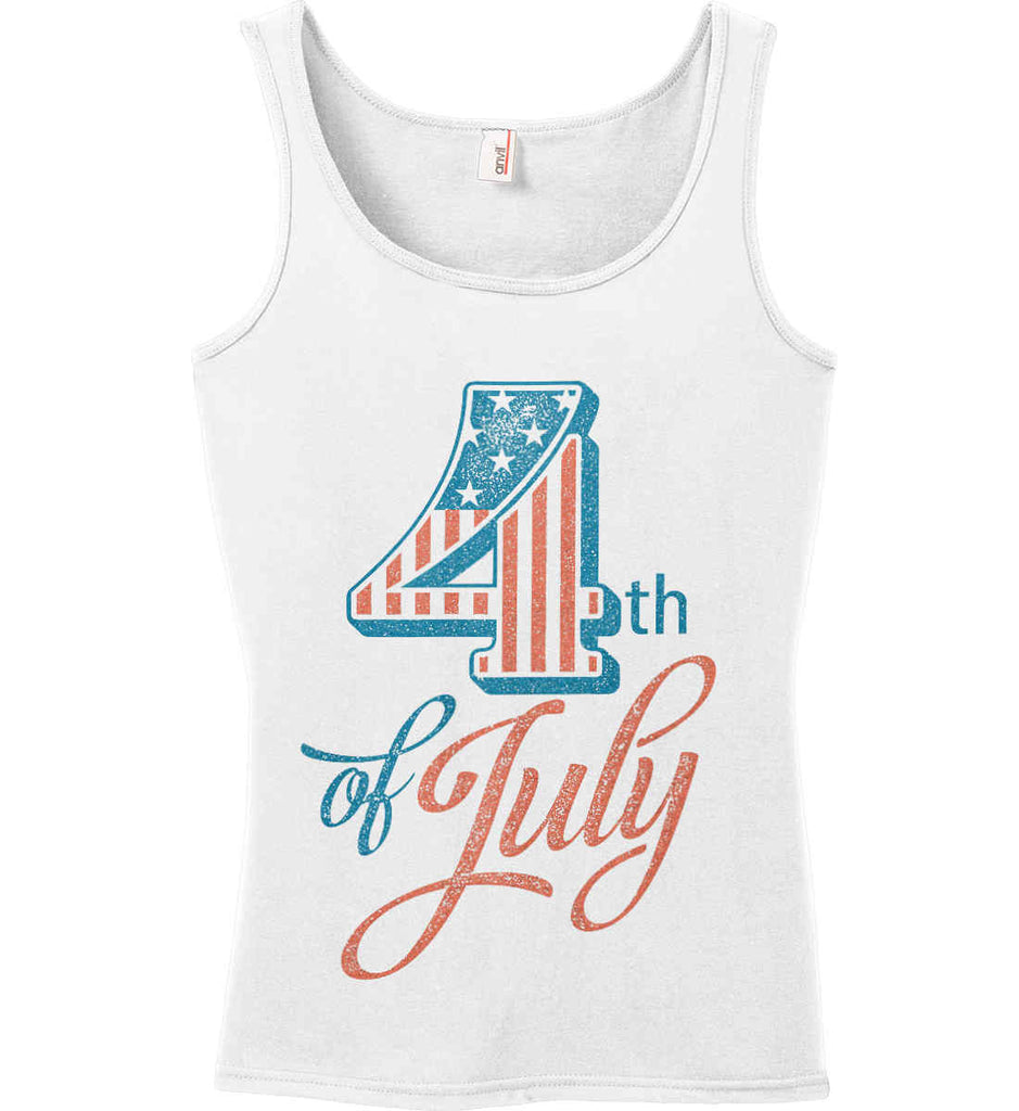 4th of July. Faded Grunge. Women's: Anvil Ladies' 100% Ringspun Cotton Tank Top.-2