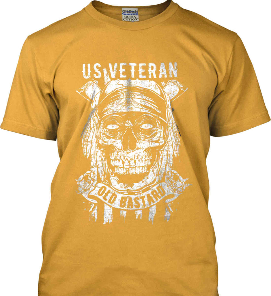 US Veteran. Skull on Flag. White Print. Gildan Ultra Cotton T-Shirt.-3