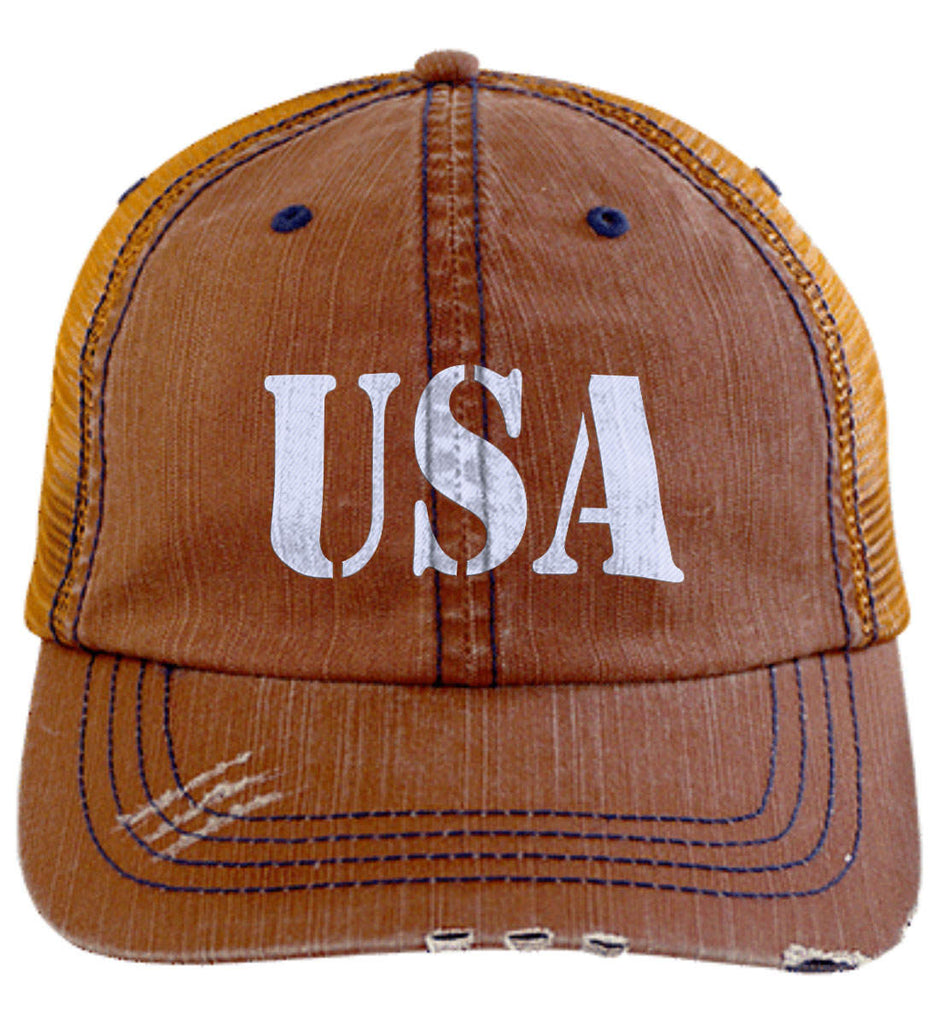 USA Patriot Hat Distressed Unstructured Trucker Cap. (Embroidered)-5
