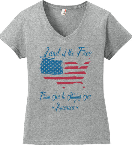 Land of the Free. From sea to shining sea. Women's: Anvil Ladies' V-Neck T-Shirt.