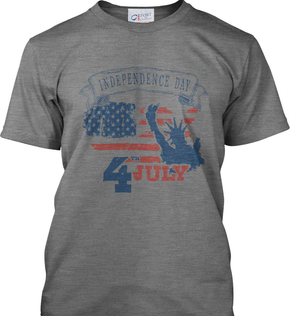 4th of July. Faded Grunge. Statue of Liberty. Port & Co. Made in the USA T-Shirt.-2