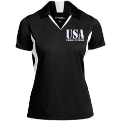 USA. Proud Patriot. Women's: Sport-Tek Ladies' Colorblock Performance Polo. (Embroidered)