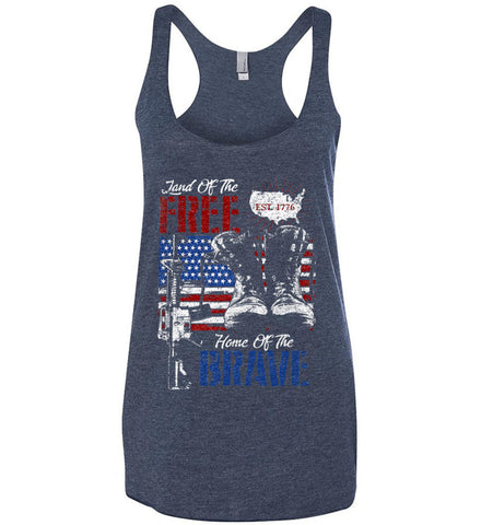 Land Of The Free. Home Of The Brave. 1776. Women's: Next Level Ladies Ideal Racerback Tank.