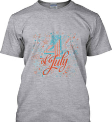 4th of July. Stars and Rockets. Gildan Tall Ultra Cotton T-Shirt.