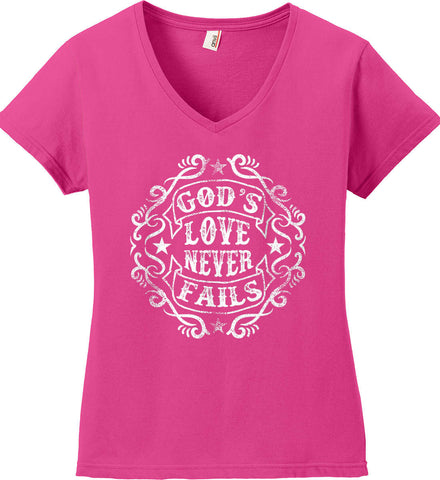 God's Love Never Fails. Women's: Anvil Ladies' V-Neck T-Shirt.