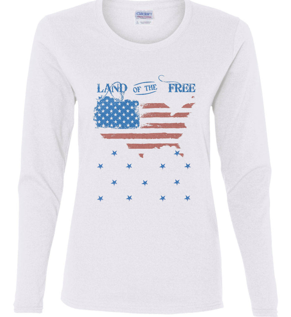 Land of the Free. Women's: Gildan Ladies Cotton Long Sleeve Shirt.-1