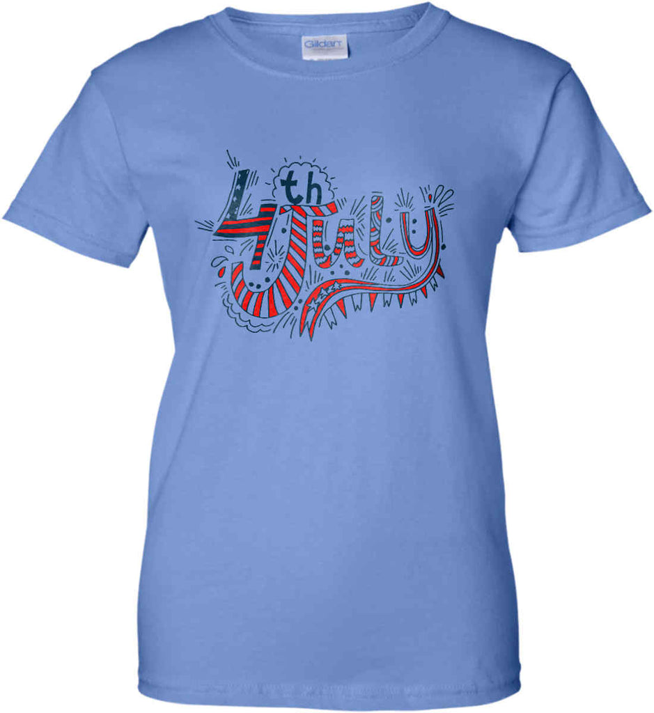 July 4th Red, White and Blue. Women's: Gildan Ladies' 100% Cotton T-Shirt.-4