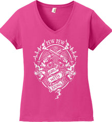 Pew Pew. Girls with Guns. Gun Chick. Women's: Anvil Ladies' V-Neck T-Shirt.