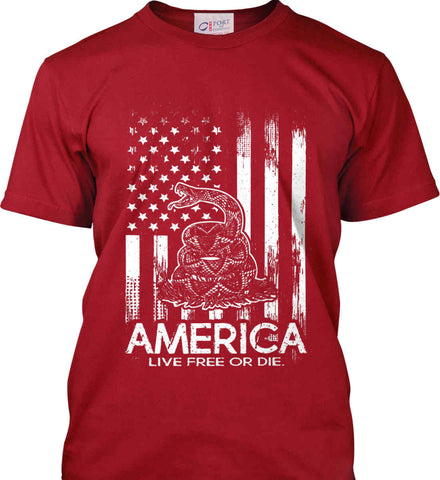 America. Live Free or Die. Don't Tread on Me. White Print. Port & Co. Made in the USA T-Shirt.
