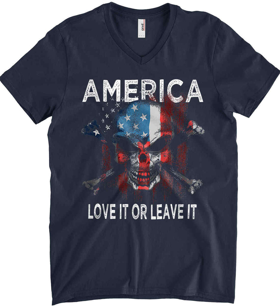America. Love It or Leave It. Anvil Men's Printed V-Neck T-Shirt.-2