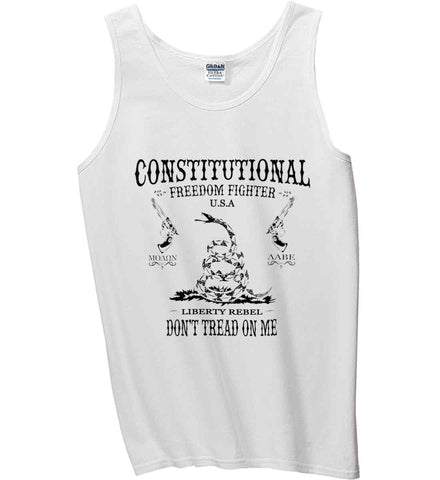 Constitutional Freedom Fighter: Liberty Rebel: Molan Labe : Second Amendment. Black Print. Gildan 100% Cotton Tank Top.