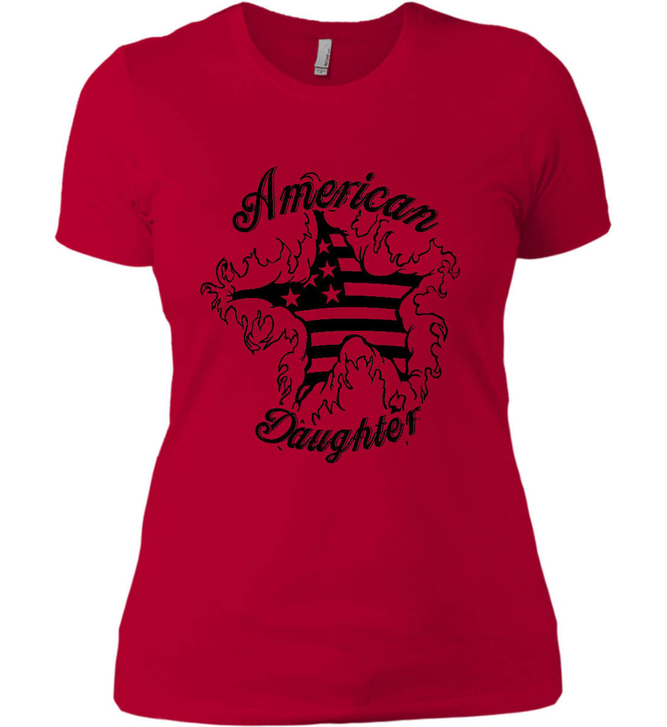 American Daughter. Women's Patriot Design. Women's: Next Level Ladies' Boyfriend (Girly) T-Shirt.-7