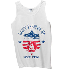 Don't Tread on Me. Snake on Shield. Red, White and Blue. Gildan 100% Cotton Tank Top.