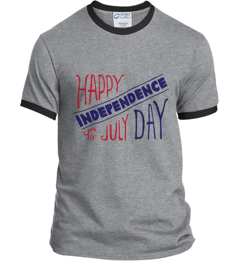 Happy Independence Day. 4th of July. Port and Company Ringer Tee.-1