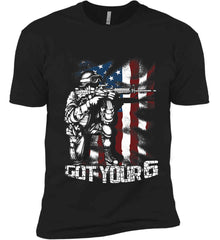 Got Your Six. Soldier Flag. Next Level Premium Short Sleeve T-Shirt.