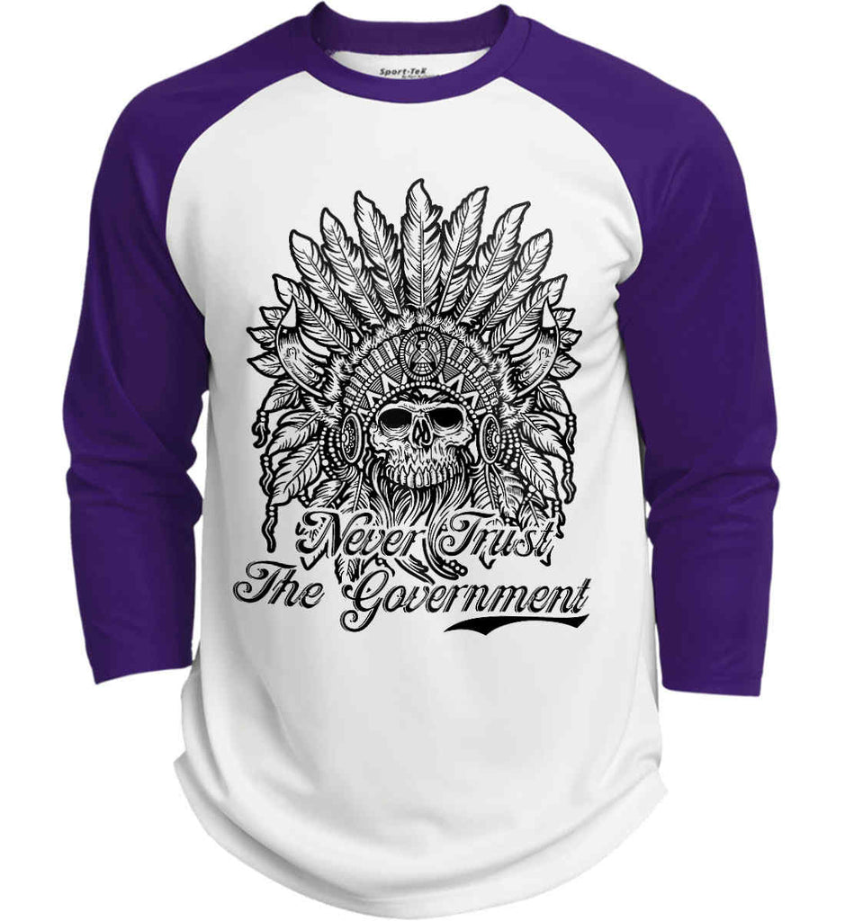 Skeleton Indian. Never Trust the Government. Sport-Tek Polyester Game Baseball Jersey.-4