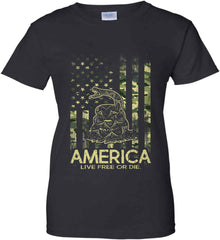 America. Live Free or Die. Don't Tread on Me. Camo. Women's: Gildan Ladies' 100% Cotton T-Shirt.