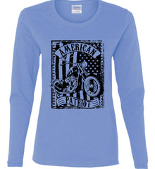American Patriot - Flag/Rider. Black Print. Women's: Gildan Ladies Cotton Long Sleeve Shirt.
