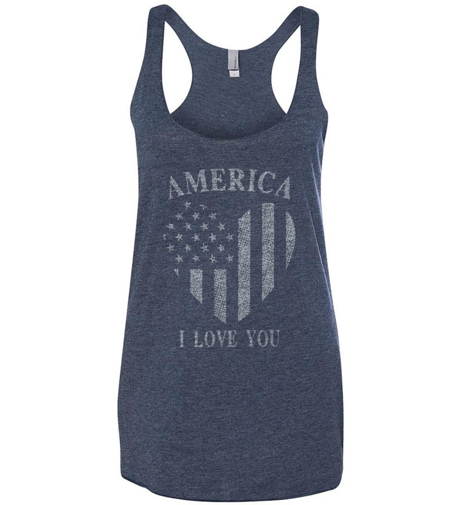 America I Love You Women's: Next Level Ladies Ideal Racerback Tank.-2
