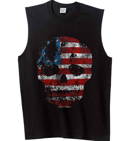 American Skull. Red, White and Blue. Gildan Men's Ultra Cotton Sleeveless T-Shirt.