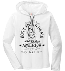 Don't Tread on Me. Liberty or Death. Land of the Free. Black Print. Women's: Anvil Ladies' Long Sleeve T-Shirt Hoodie.