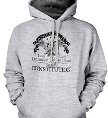 America: Less Democrat - Less Republican. More Constitution. Black Print Gildan Heavyweight Pullover Fleece Sweatshirt.