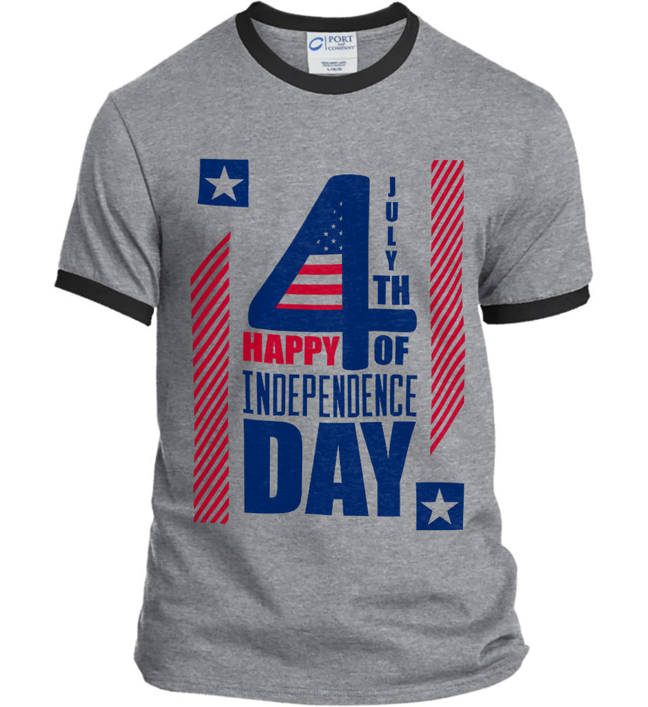4th of July with Stars and Stripes. Port and Company Ringer Tee.-2