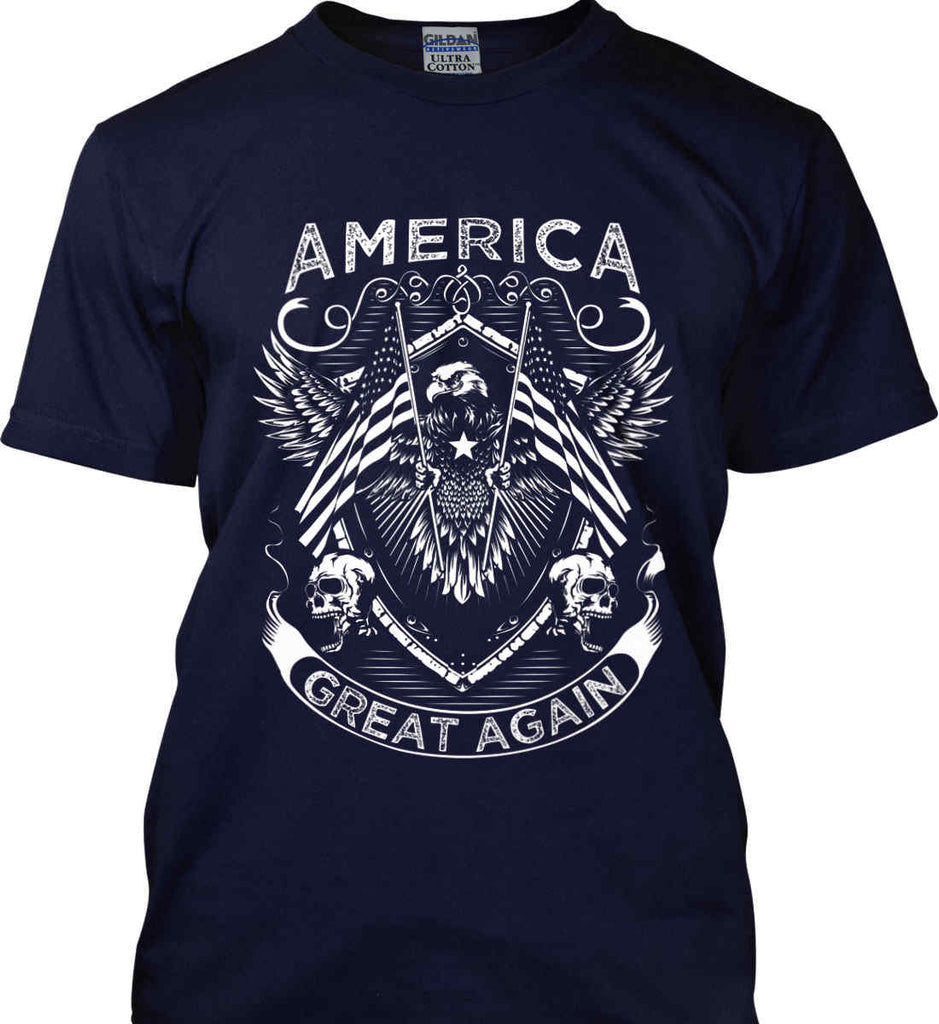 America. Great Again. White Print. Gildan Ultra Cotton T-Shirt.-9