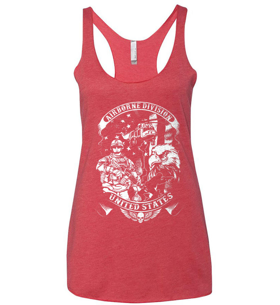 Airborne Division. United States. White Print. Women's: Next Level Ladies Ideal Racerback Tank.-4