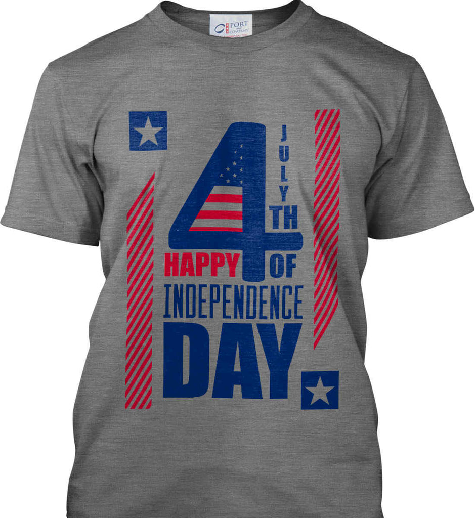 4th of July with Stars and Stripes. Port & Co. Made in the USA T-Shirt.-2