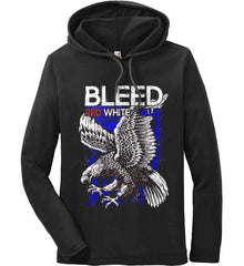 BLEED Red, White & Blue. Eagle on Flag. Anvil Long Sleeve T-Shirt Hoodie.