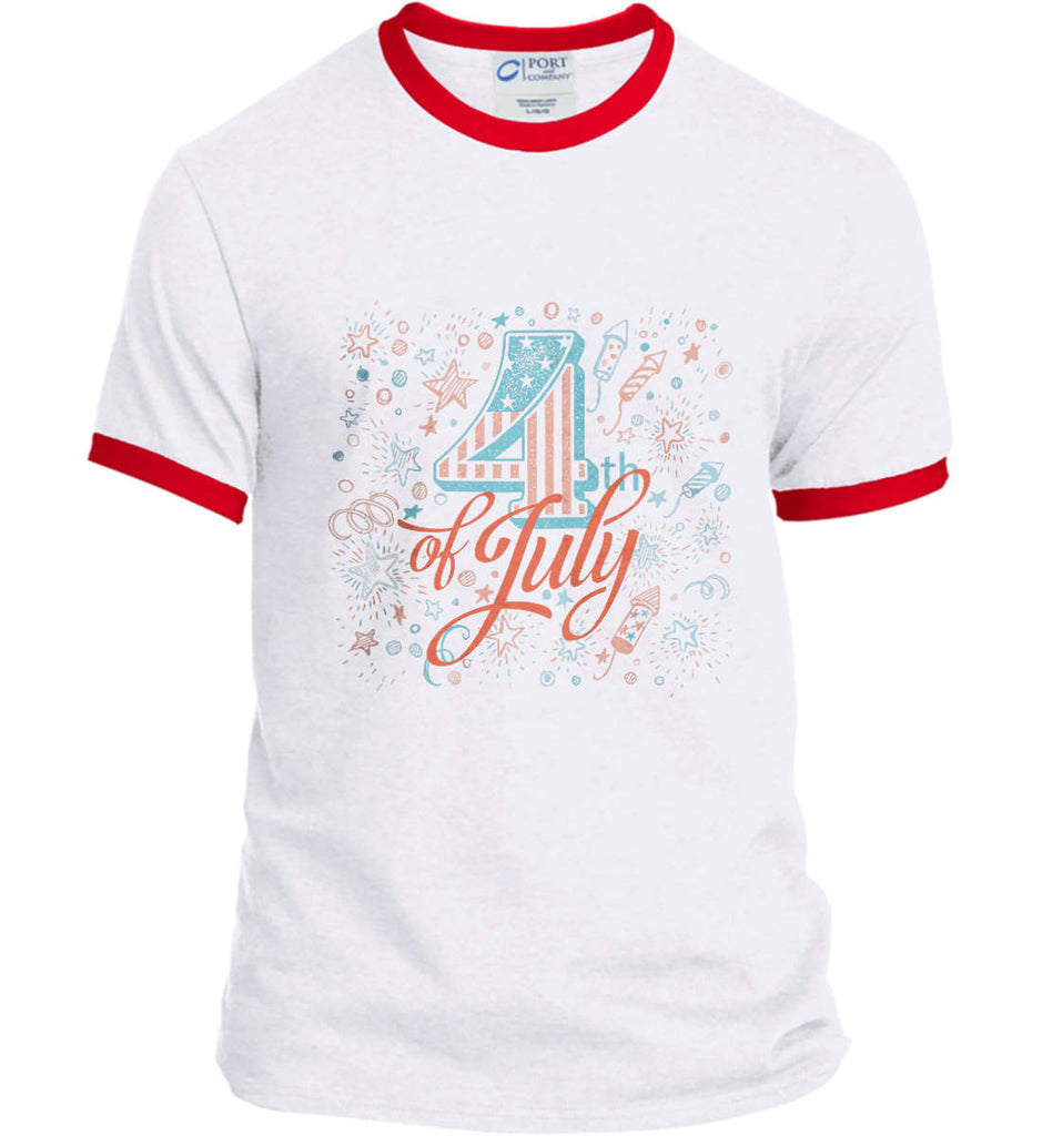 4th of July. Stars and Rockets. Port and Company Ringer Tee.-1