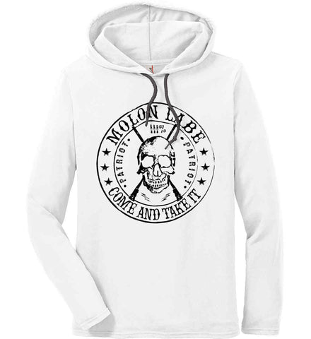 Molon Labe. Come and Take. Skull. Black Print Anvil Long Sleeve T-Shirt Hoodie.