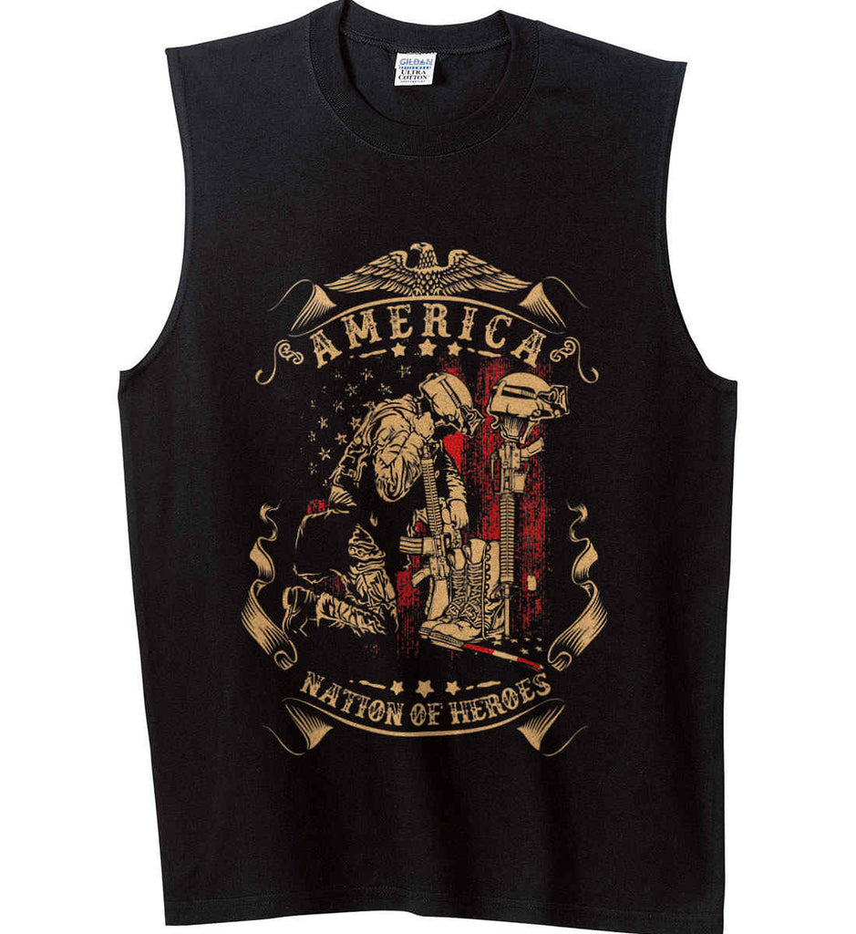 America A Nation of Heroes. Kneeling Soldier. Gildan Men's Ultra Cotton Sleeveless T-Shirt.-1
