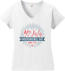 4th of July. Independence Day Since 1776. Women's: Anvil Ladies' V-Neck T-Shirt.
