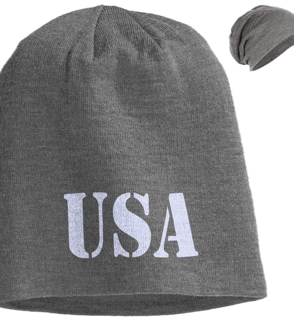 USA Patriot Hat District Slouch Beanie. (Embroidered)-4