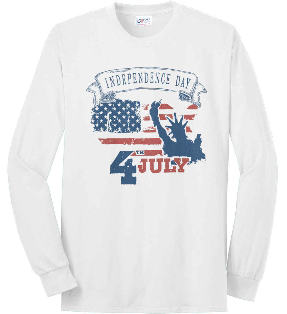 4th of July. Faded Grunge. Statue of Liberty. Port & Co. Long Sleeve Shirt. Made in the USA..-1