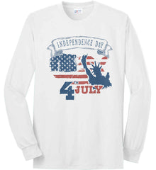 4th of July. Faded Grunge. Statue of Liberty. Port & Co. Long Sleeve Shirt. Made in the USA..