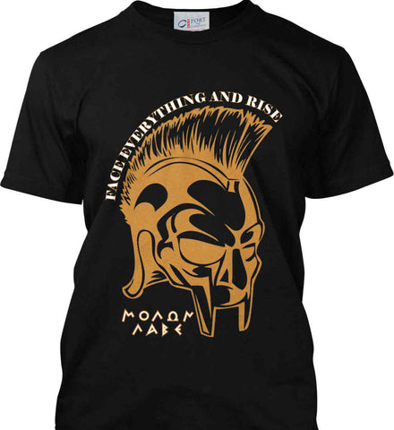 Face Everything and Rise. Molon Labe. Port & Co. Made in the USA T-Shirt.