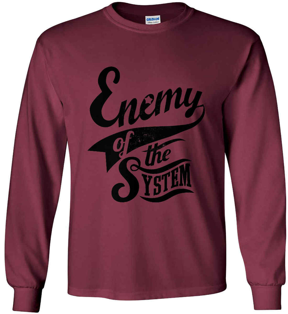 Enemy of The System. Gildan Ultra Cotton Long Sleeve Shirt.-4
