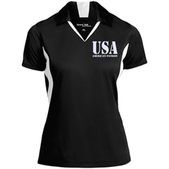USA. American Patriot. Women's: Sport-Tek Ladies' Colorblock Performance Polo. (Embroidered)