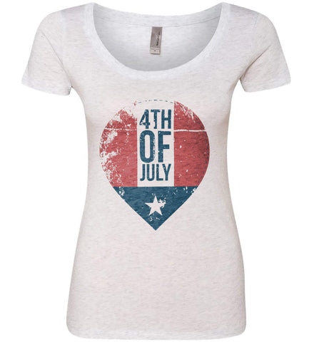 4th of July with Star. Women's: Next Level Ladies' Triblend Scoop.