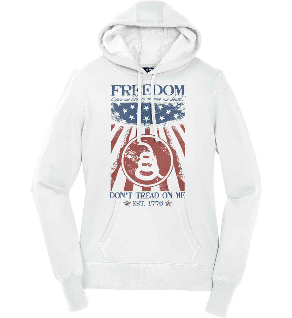 Freedom. Give me liberty or give me death. Women's: Sport-Tek Ladies Pullover Hooded Sweatshirt.-1