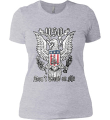 Don't Tread on Me. Eagle with Shield and Rattlesnake. Women's: Next Level Ladies' Boyfriend (Girly) T-Shirt.