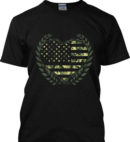 I Heart America. Camo Version. Gildan Ultra Cotton T-Shirt.